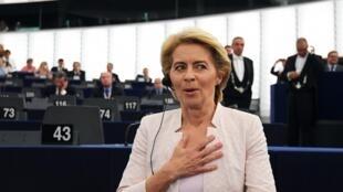 A reacção de Ursula von der Leyen após o anúncio dos votos. 16 de Julho de 2019. Parlamento Europeu. Estrasburgo.