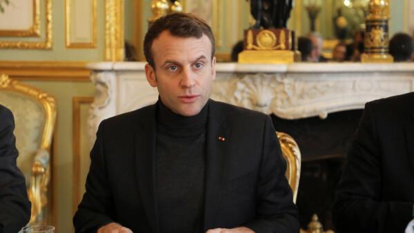 O presidente francês Emmanuel Macron no Palácio do Eliseu, em 9 de fevereiro de 2018.