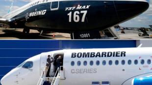 យន្តហោះ Boeing 737 Max (arriba) និងយន្តហោះទម្លាក់គ្រាប់បែក CS300 (abajo).