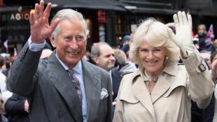 資料圖片:英國查爾斯王子與妻子卡米拉。2012年6月3日攝於倫敦。