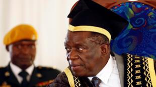 New Zimbabwean President Emmerson Mnangagwa at a university graduation ceremony in Chinhoyi, near Harare, Zimbabwe on 1 December, 2017