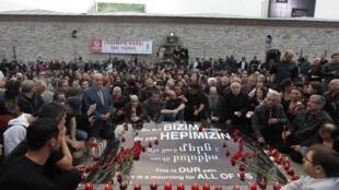 Commémoration du génocide arménien à Istanbul, le 24 avril 2010.