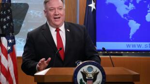 资料图片:美国国务卿蓬佩奥。2020年4月7日摄于华盛顿。