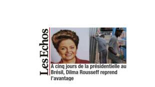 O jornal Les Echos anuncia que, a cinco dias do primeiro turno, Dilma Rousseff abriu vantagem sobre a rival Marina Silva (PSB).