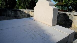 Former president Charles de Gaulle's grave on the day after it was vandalised