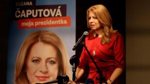 Nữ luật sư Zuzana Caputova phát biểu tại trụ sở đảng của bà, sau kết quả sơ bộ bỏ phiếu vòng một, Bratislava, 16/03/2019.