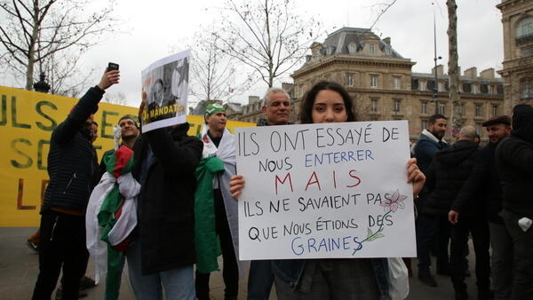 Algerians protest at Paris' Place de la Republique against a fifth mandate by octagenarian President Bouteflika (3 March 2019)