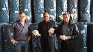 De g à d : Nikolos Cosmas, Vassilis Ikonomou et Adonis Koutalekos, trois professionnels du coton qui dressent de leur métier un portrait peu réjouissant.