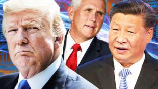 美国总统特朗普、副总统彭斯和中国国家主席习近平