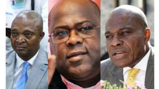 DRC- baadhi ya wagombea wa kiti cha urais Kushoto kwenda kulia: Emmanuel Ramazani Shadary, Félix Tshisekedi, Martin Fayulu.
