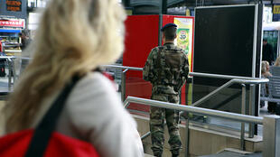 Soldier on duty at Gare de Lyon, Paris