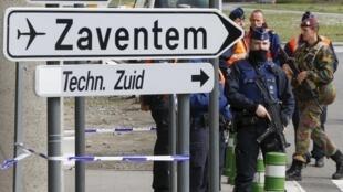 Police on patrol outside Zaventem airport