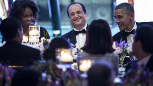 Michelle Obama, François Hollande and Barack Obama at the White House dinner on Tuesday