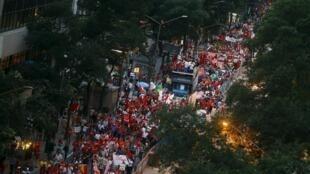 Manifestação de apoio ao governo brasileiro no Rio de Janeiro, em 20 de agosto de 2015.