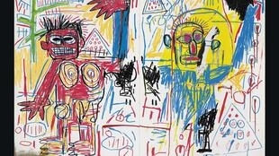 "Obra de Jean-Michel Basquiat, exposta na Fundação Louis Vuitton de Paris, ""Untitled 1982""."