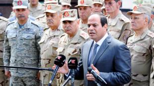 Rais wa Misri, Abdel Fattah al-Sissi, baada ya mkutano na baraza la majeshi, Jumamosi Aprili 4 Cairo.