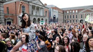 Celebración en Dublín de la victoria del Sí en el referendo sobre aborto en Irlanda. Este 26 de mayo de 2018.