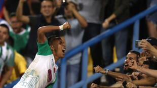 Le Marocain Badr Benoun, buteur pour le Raja Casablanca face à l'Espérance Tunis, en Super Coupe d'Afrique.