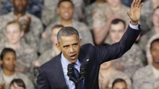 Tổng thống Mỹ Barack Obama phát biểu trước một đơn vị đồn trú của Mỹ tại Yongsan, Hàn Quốc, ngày 26/04/2014