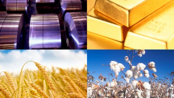 Các loại nguyên liệu: Nhôm, Vàng, Lúa mì, bông sợi...