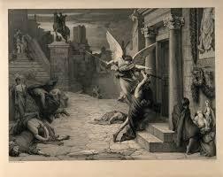 Death striking a door the plague
