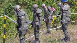Binh sĩ Hàn Quốc rà mìn ở Khu phi quân sự (DMZ), ngày 02/10/2018, tại Cheorwon, Hàn Quốc.