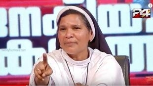 Sister Lucy Kalappura, an Indian Catholic nun from Kerala, speaking out about her dismissal on television.