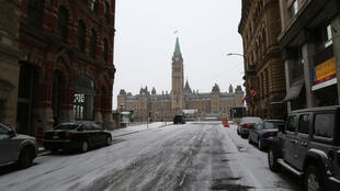 Parliament of Canada, pictureduring morning d rush hour March 23, 2020 in Ottawa