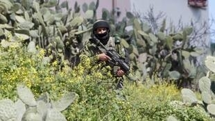 An Israeli soldier during the military operation in the West Bank village of Awrta near Nablus