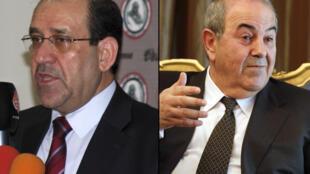 Nouri al-Maliki (L) et Iyad Allawi (R)