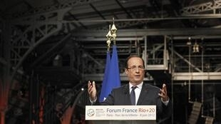 O presidente da França, François Hollande, discursou nesta sexta-feira na abertura do Forum France Rio+20, que prepara a participação francesa no evento.