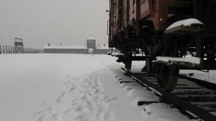 A railtruck at Auschwitz concentration camp