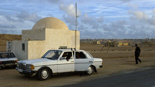 A police checkpoint in the suburbs of Laayoune, Western Sahara.