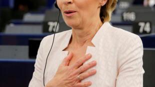 歐盟委員會待任主席馮德萊恩得知提名被通過資料圖片