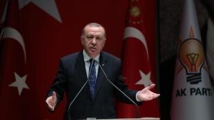 Tổng thống Thổ Nhĩ Kỳ Erdogan phát biểu trong một cuộc họp của đảng cầm quyền ở Ankara, ngày 26/12/2019