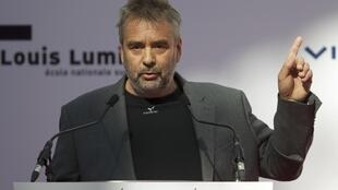 Luc Besson attends the inauguration of the 'Cite du Cinema' movie studios in Saint-Denis, near Paris, 21 September 2012.