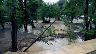 A flooded campsite in Saint-Julien-de-Peyrolas, southern France last summer.