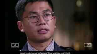 """""""Cựu điệp viên"""" Trung Quốc Vương Lập Cường (Wang Liqiang) trong chương trình 60 Minutes Australia. Ảnh chụp từ màn hình theaustralian.com.au"""