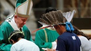O papa Francisco durante missa de abertura do Sínodo da Amazônia, que começa neste domingo