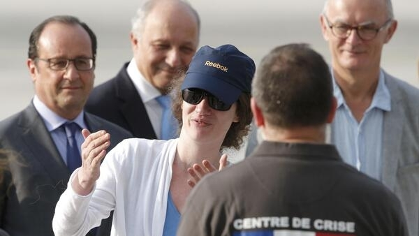 Isabelle Prime was greeted by President Hollande and Foreign minister Laurent Fabius, August 7, 2015