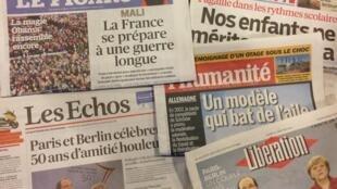 Capas dos diários franceses do dia 22 de Janeiro de 2013