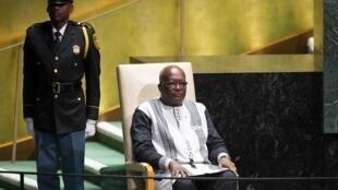 Rais wa Burkina Faso Rock Rock Marc Chrisitan Kaboré katika kikao cha 74 cha Mkutano Mkuu wa Umoja wa Mataifa, Septemba 24, 2019 New York.