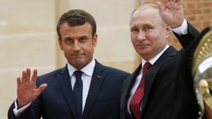 Emmanuel Macron e Vladimir Putin em Versalhes. 29/05/17