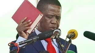 President Lungu during his swearing-in ceremony in Lusaka, 13 September 2016.