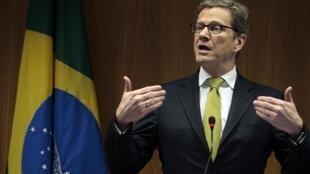 O ministro das Relações Exteriores da Alemanha, Guido Westerwelle, durante discurso no Brasil.