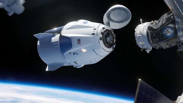 Ilustración de la cápsula Crew Dragon llegando a la Estación Espacial Internacional (ISS).