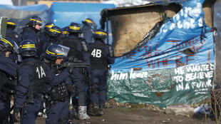 """French police clear part of the """"Jungle"""" in Calais, France, this month"""