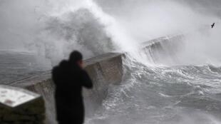 Waves have lashed the western coast of Brittany since Christmas
