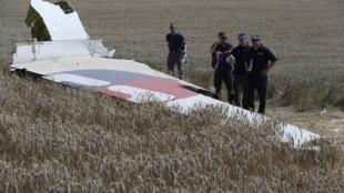 2014年8月1日,國際調查小組專家在烏克蘭東部馬航MH17航班墜機地點勘查。