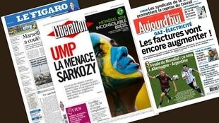 Capa dos jornais franceses Le Figaro, Libération e Aujourd'hui en France desta quinta-feira, 10 de julho de 2014.